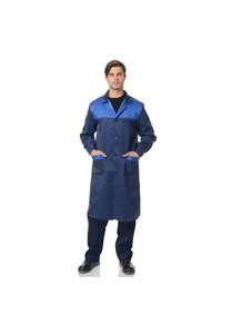 Халат мужской Технолог со светоотражающим кантом темно-синий/василек