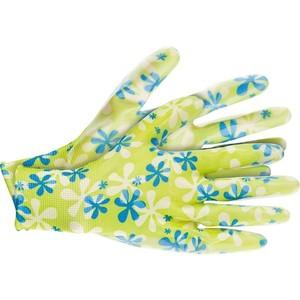 Перчатки садовые с нитрил. обливом S зеленые