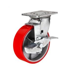 Колесо полиуретановое поворотное с тормозом тип SCpb